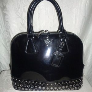 27025feda132 ... sweden prada black studded jeweled spazzolato purse 2495 5896b 3fcf8